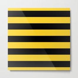 Yellow and Black Honey Bee Horizontal Cabana Tent Stripes Metal Print