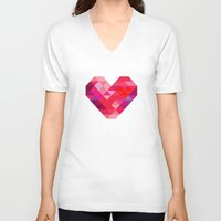prism V-neck T-shirts featuring Prism Heart by Badamg