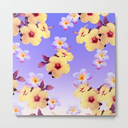 Hibiscus and Plumeria on Lilac Metal Print