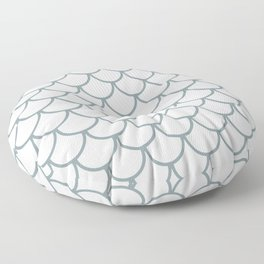 Neutral Blue Fish Scales Pattern Floor Pillow