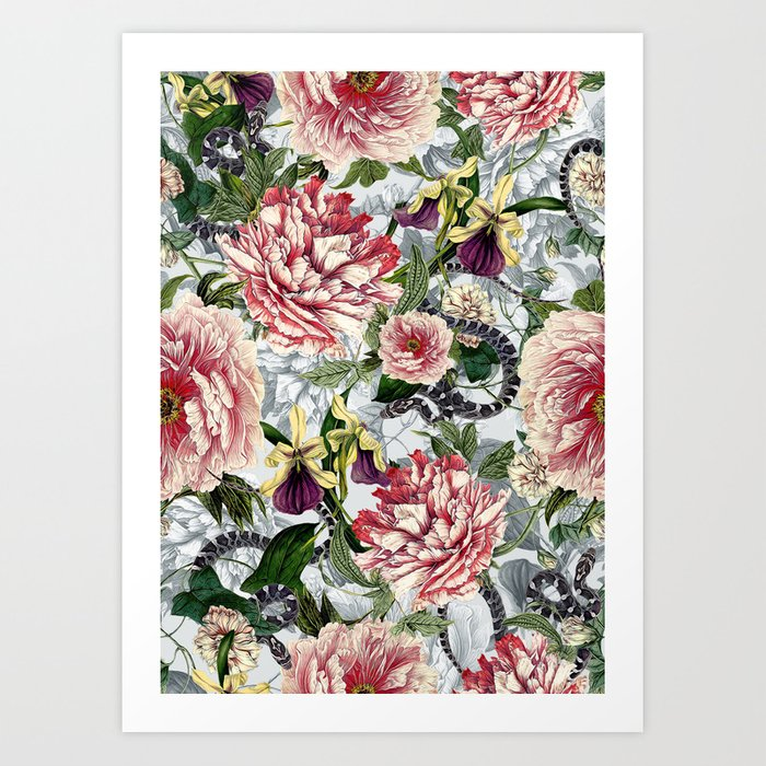 Snakes And Flowers Art Print