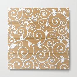 White floral swirls on wood texture Metal Print