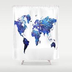 World Map blue purple Shower Curtain