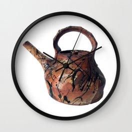 Photograph of Red Stoneware Teapot, Ceramic Art [Rostislav Eismont] Wall Clock