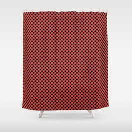 Grenadine and Black Polka Dots Shower Curtain