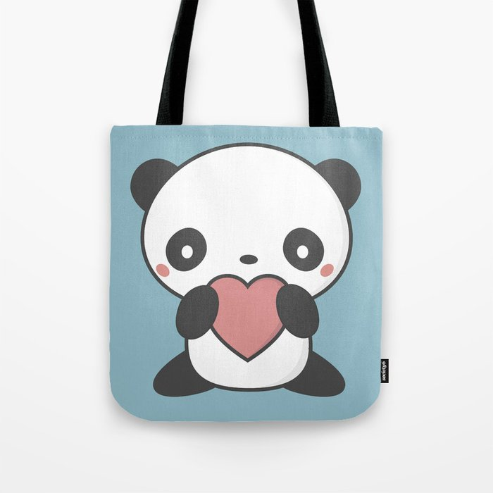Kawaii Cute Panda Bear Tote Bag by wordsberry  d30bb7c56a7f0