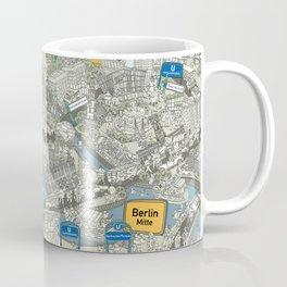 Illustrated map of Berlin-Mitte. Green Coffee Mug