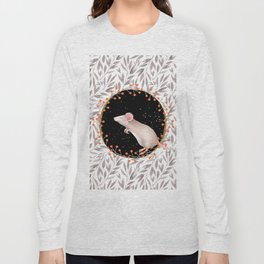 Beautiful nosey Mouse with flower background- Animal - mice - flowers Long Sleeve T-shirt