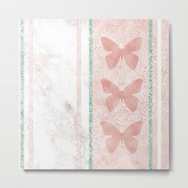 Snow White Peach Butterfly Abstract Pattern Metal Print