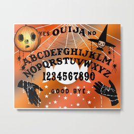 Halloween Theme Ouija Board Pattern (Black Text) Metal Print