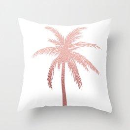 Rose Gold Palm Tree Throw Pillow