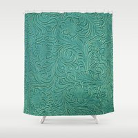 leather Shower Curtains featuring teal leather by Sylvia Cook Photography
