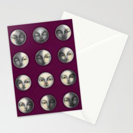 moon phases on dark purple Stationery Cards