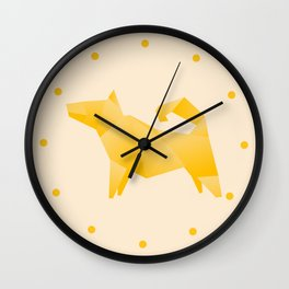 Let's Go Outside - Origami Yellow Dog Wall Clock