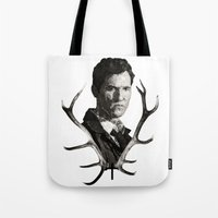 true detective Tote Bags featuring True Detective by ConnorEden
