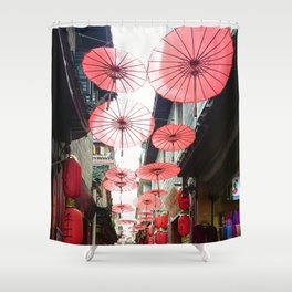 Asia in Red Shower Curtain
