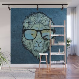 Stylish Lion Design with Moroccan Leather background Wall Mural