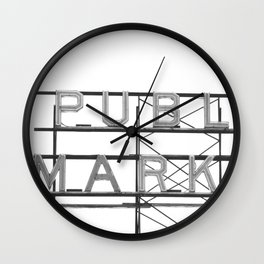 Pike Place Public Farmers Market - Black and White Wall Clock