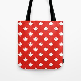 Large Reversed White Canadian Maple Leaf on Red Tote Bag