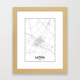 Minimal City Maps - Map Of Latina, Italy. Framed Art Print