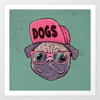 dogs Art Prints featuring Dogs by Lime