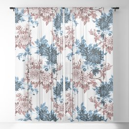 Two-toned flowers Sheer Curtain