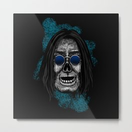Ozzy style Errorface Skull Metal Print