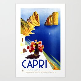 1952 Capri Italy Travel Poster Art Print