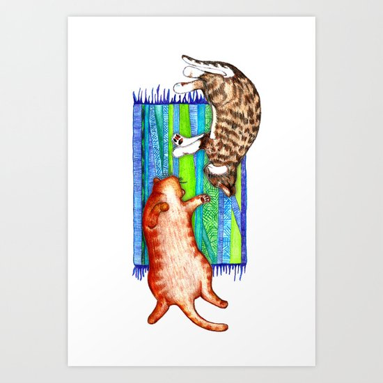 Good Company - two cats on a mat Art Print