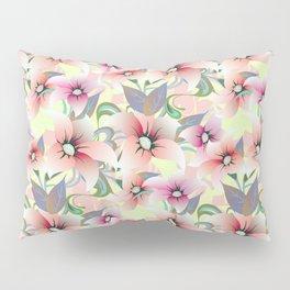 Elegant pink coral modern floral botanical illustration Pillow Sham
