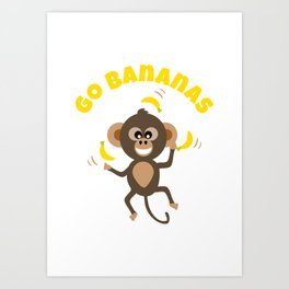 Go Bananas and Cute Animal Monkey Juggling with Yellow Text Art Print