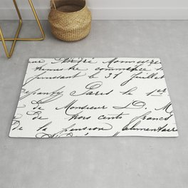 Antique French Script Rug
