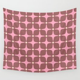 Mid Century Modern Star Pattern 143 Pink and Brown Wall Tapestry