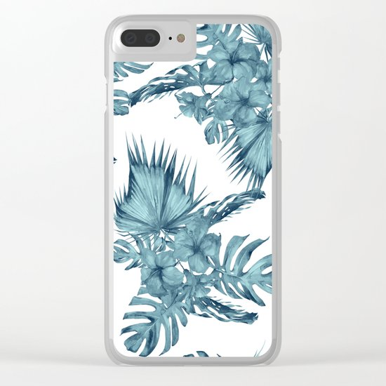 Tropical Palm Leaves Hibiscus Flowers Blue Clear iPhone Case