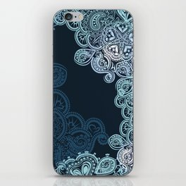Indian boho pattern with ornament in blue iPhone Skin