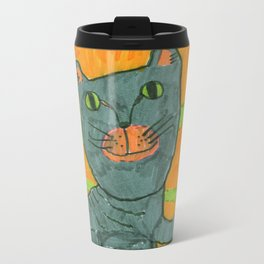 Lucy cat portrait Metal Travel Mug