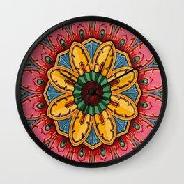 Indian Mandala Flower Wall Clock