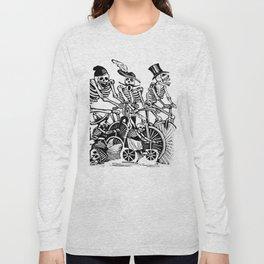 Calavera Cyclists   Black and White Long Sleeve T-shirt