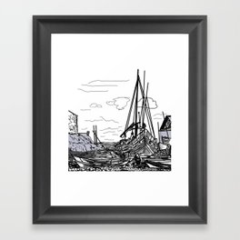 boats on the sea . artwork Framed Art Print