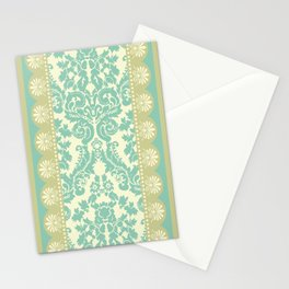 Ornamental Renaissance Border Design Acqua  Stationery Cards