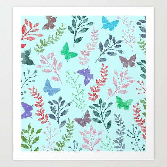 Watercolor flowers & butterflies II Art Print