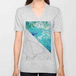 Teal watercolor paint splatters white marble Unisex V-Neck
