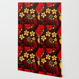 Yellow Fantasy Flowers On Red And Black Wallpaper