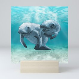 Two Manatees Swimming Mini Art Print