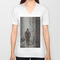 rorschach V-neck T-shirts featuring Rorschach by JadeJonesArt