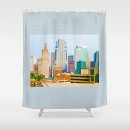 Downtown Kansas City Skyline Tilt Shift Photograph Shower Curtain