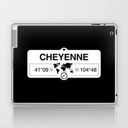 Cheyenne Wyoming GPS Coordinates Map Artwork with Compass Laptop & iPad Skin