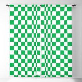 Green Checkerboard Pattern Blackout Curtain