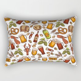 Hand Drawn Beer and Snacks Pattern Rectangular Pillow