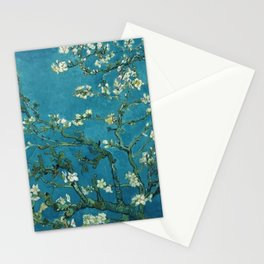 Vincent van Gogh Blossoming Almond Tree (Almond Blossoms)  Dark Blue Stationery Cards